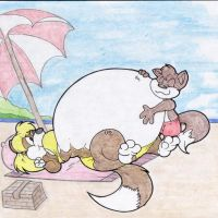 Runey Rubs Megans Stuffed Belly. Beach. by Virus-20