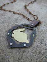Rabbit Riveted Necklace by AbandonedMemory