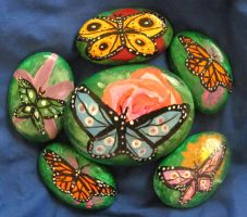 Rose Rock with Butterflys by AmandaFerguson070707