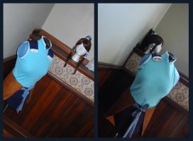 Korra Costume and Wig by witchiamwill