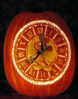 Working Mickey Mouse Clock Carved Pumpkin by St0ney