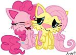 Pinkie and Fluttershy as cat by ariana-art