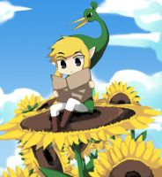 Toon Link on the sunflower by Pikanafe