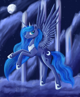 Luna in night Cloudsdale by Dalagar