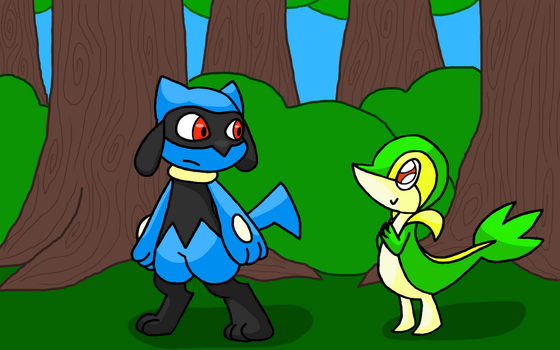 Riolou And Snivy by theamazingLynk