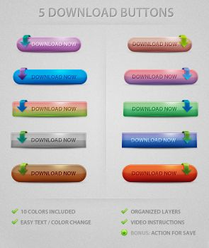 Free PSD: 5 Download Buttons by relaxing77