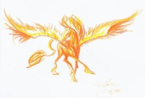 Orange Winged Horse by twistkick