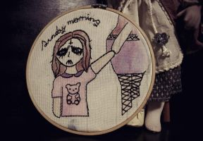 embroidery black metal cute girl by fayettedream