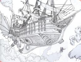 Steam pirate ship by Sheharzad-Arshad