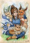 Korra and the Eevee Elements by Kagoe
