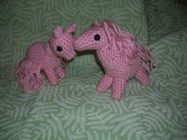Pink Amigurumi Pony and Alpaca by Eliea