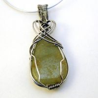 Sparkling Green Wire-wrapped Pendant by bugsandbears