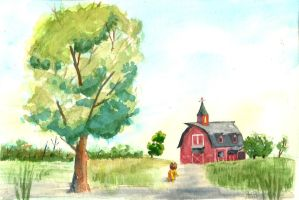 Watercolor Apple Farm by jay156