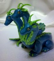 Polymer Clay 3 headed hydra dragon by Valtira