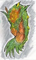 Water color dragon Grn, Orng by kanderson137