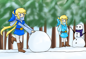 Bluey and Aqua Playing With Snow by HotTemperedLinkette