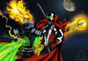 spawn vs the rider coloured by megallicor