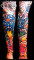 Colour oriental sleeve by state-of-art-tattoo