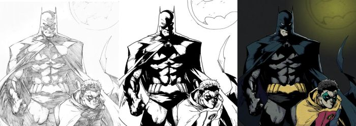 Inking and Coloring Greg Capullo's Batman by MikePouch