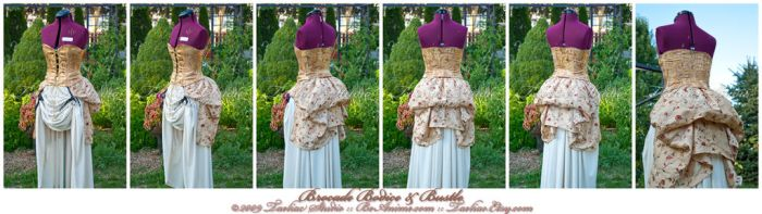 Steampunk Golden Bodice+Bustle by taeliac