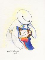 Dipper cuddles Baymax - Commission by Kanis-Major