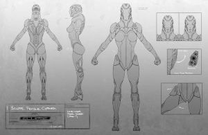 female cyborg model sheet by neuromancer2