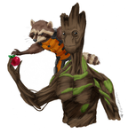 Rocket and Groot by Fischotterchen