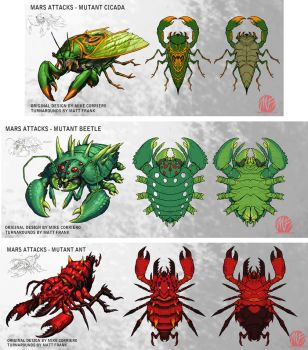 Mars Attacks Mutant Bug Concepts part 2 by KaijuSamurai
