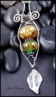 Lampwork and Sterling Pendant - Echoes of Autumn by andromeda