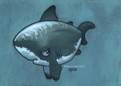 Grumpy White Shark by MegLyman