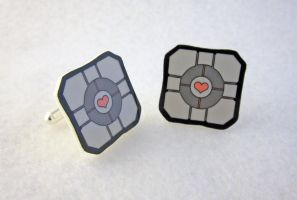 Companion Cube Cufflinks by egyptianruin