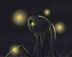 Toothless and Fireflies by metaira
