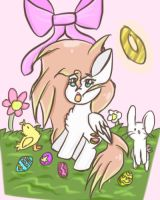 Terrible Chibi Angel Drawing for Easter IDK man  by strawberrycatXD