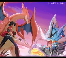 COMMISSION: Card Battle At Sunrise! by Billiam-X