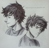 Sketch of Percy Jackson by AlexandraGuizado