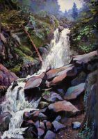 Waterfall (cascade) soft pastel by PatrickHENRY