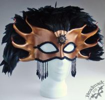 Bronze and black gala mask by Beadmask