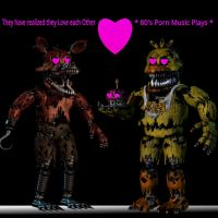Nightmare Foxy X Nightmare Chica by TheIrishKnight111