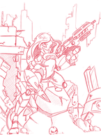 Gunner Girl Pencils by Awellsy