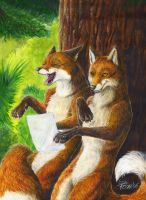 Laughing Foxes by EosFoxx