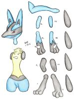 Lucario Paper Doll - Colored by FroggyDreams