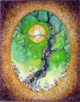 Owl in the deep Forest by dragonflywatercolors
