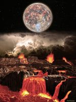 The Lava-filled Molten Earth and A Molten Moon by SilentMobster42