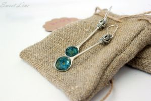 Spoons with blue flowers earrings by fion-fon-tier
