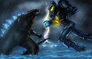 Godzilla vs Gipsy Danger by Amrock