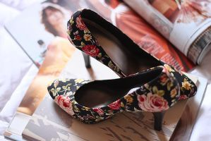 floral heels by M-E-S-H-O