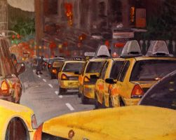 New York Taxis by Moodyvoodies