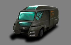 Shadowrun UPS Urban Allrounder delivery van by raben-aas