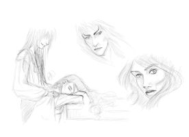 Jareth and Sarah Sketches by demonsaya