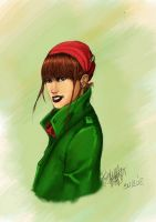 a girl with a red hat by Pliskyn